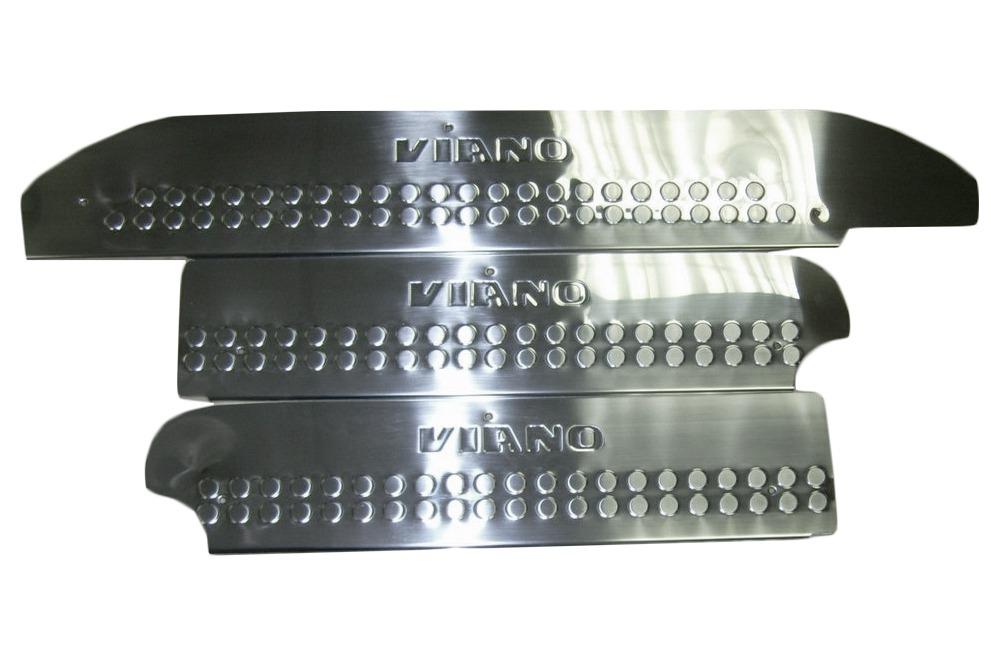 Накладки на внутренние пороги широкие (нерж) 4 шт, OmsaLine - Итальянская нержавейка