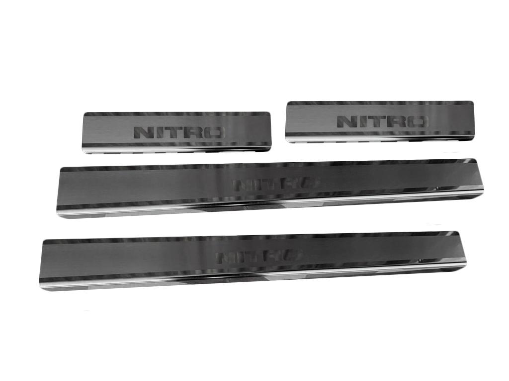Накладки на пороги Натанико (нерж) Premium - лента 3М, 0.8мм